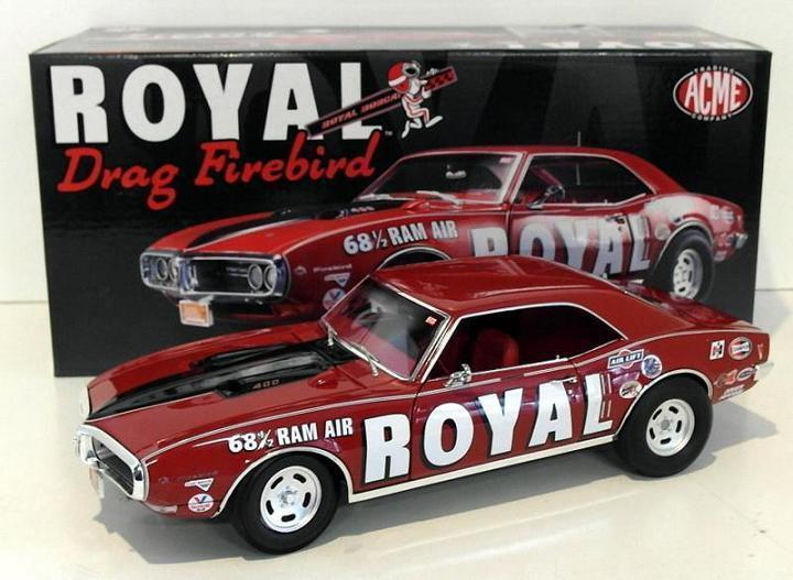 ACME 1:18 1968 1/2 Royal Drag Firebird Diecast Model Car rosso A1805202