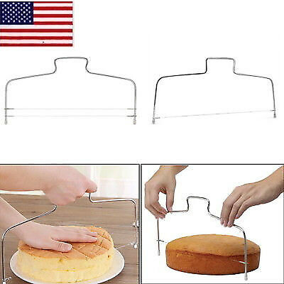 US Adjustable Wire Cake Slicer Cutter Leveller Decorating Bread Wire Tools Decor 8