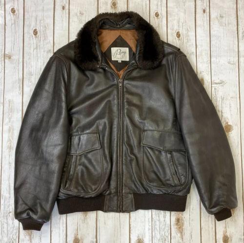 REMY Men's Brown Leather Bomber Flight Jacket Sz 4