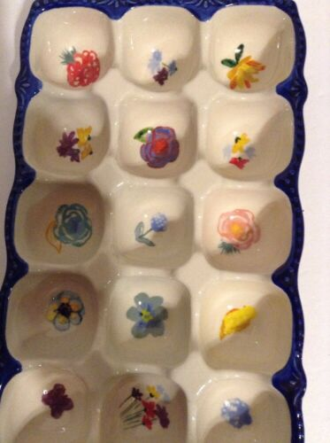 Pioneer Woman Celia Stoneware Egg Holder Blue 10X6.1 Inches Holds 15 Eggs