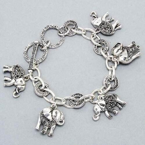 "ELEPHANT Charm Bracelet Marcasite Silvertone Toggle closure-7 1//2/"""