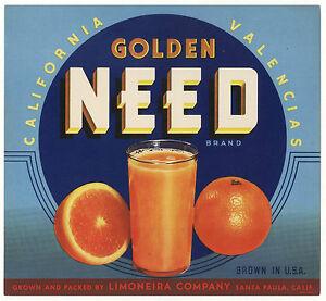 *Original* GOLDEN NEED Santa Paula Juice Limoneira Orange Crate Label NOT A COPY