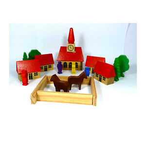 Amanda 28005 Dorf mit Kirche 19 Teile Holz Erzgebirge NEU!    #