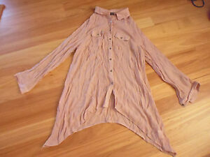 LADIES-CUTE-DUSKY-PINK-LONG-SLEEVE-POLYESTER-VISCOSE-TOP-BY-CROSSROADS-SIZE-18