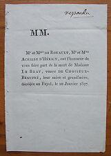 ROUAULT, D'HERICY, LE BRAY, CHOISEUL-BEAUPRE, 1807, FAIRE-PART ORIGINAL DE DECES