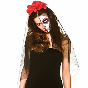 Ladies giorno dei morti RED ROSE Veil Fascia Per Capelli Halloween Fancy Dress accessorio