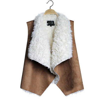 Women Top Sleeveless Fall PU Leather Faux Fur Liner Vest Jacket Coat