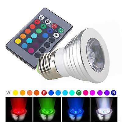 2pcs E27 Color Changing 3W RGB LED Light Bulb Lamp 100-240V +IR Remote Control
