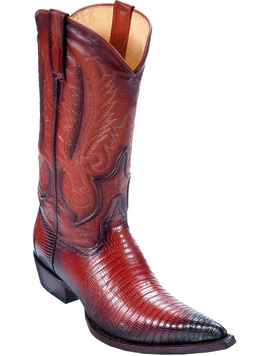 LOS ALTOS MEN COGNAC 3X-TOE GENUINE TEJU LIZARD WESTERN COWBOY BOOT 95EV0757 EE