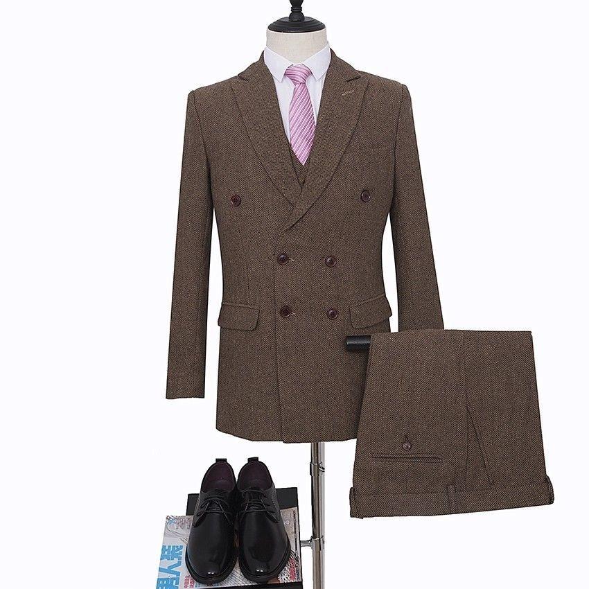 Plaid Vintage Brown Men Double Breasted Classic Tweed Herringbone 3 Piece Suit