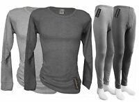 Mens Thermal Underwear Set - Long John + Long Sleeve Shirt - Mid Weight Quality
