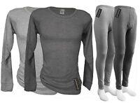 Mens Thermal Underwear Set Long John + Long Sleeve Shirt - Ski Base Under Layer