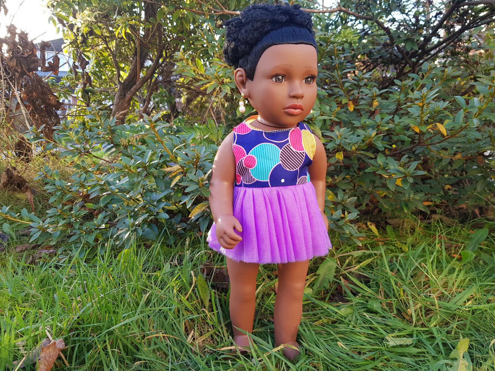 "17"" Deja Baby Girls Afro African Black Doll Evening Dress DISCO DIVA 43cm"