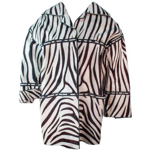 AMEN WARDY Zebra Pattern Cowhide Coat Size 4-8 - image 1