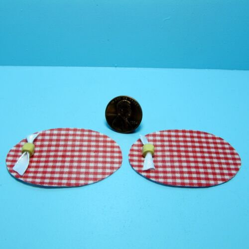 Dollhouse Miniature Country Red Checkered Placemat Set ~ K1507R