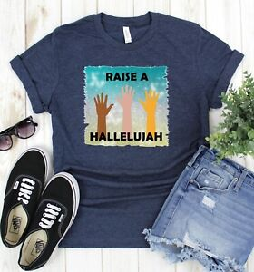 Womens-Graphic-T-Shirt-Navy-Raise-A-Hallelujah-Raised-Hands-Religious-Jesus
