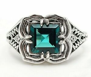 2CT-Apatite-925-Solid-Sterling-Silver-Filigree-Ring-Jewelry-Sz-8-PR32