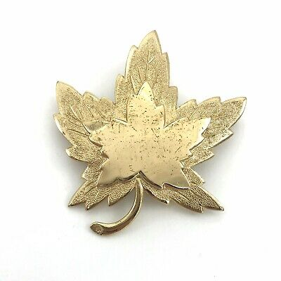 Vintage Maple Leaf Glass Cabochon Pin Brooch Made in England
