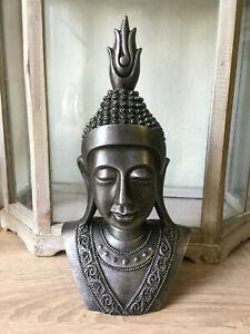 Buddha Kopf Deko.Details Zu Buddha Kopf Deko Statue Groß Buddhakopf Schwarz Silber Buddha Figur 31 Cm