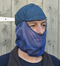 NAVY BLUE FOOD PRODUCTION CAP WITH FULL BEARD SNOOD MASK HYGIENE HAT CATERING