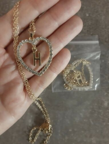 Valentines Heart Letter Initial Pendent Necklace Free Gift Bag Birthday