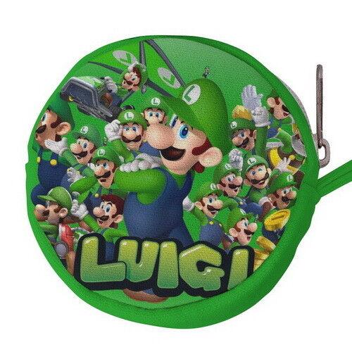 Super Mario Bros Luigi Canvas Mini Circular Wallet Coin Purse p77 w0086
