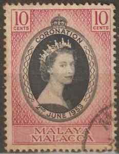 MALAYSIA-MALAYA-MALACCA-1953-CORONATION-OF-QE-II-SET-1V-USED-CAT-RM-6
