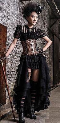 Überrock Rüschen & Tüll Gothic Lolita victorian Steampunk schwarz Schleppe Rock