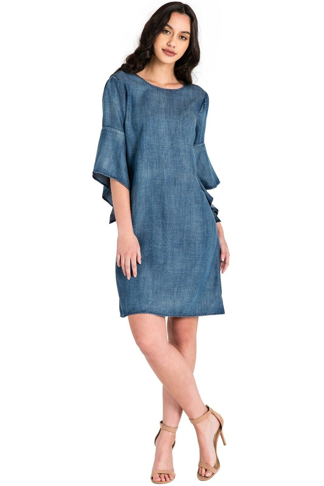 Standards & Practices Modern damen Tencel Denim Flounce Flare Sleeve Shift Dress