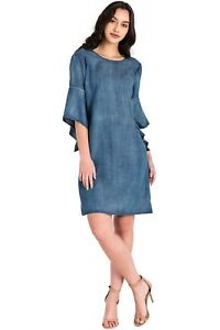 Standards /& Practices Modern Womens Tencel Denim Spaghetti Strap Maxi Wrap Dress
