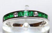 9ct White Gold Channel Set Princess Emerald .07ct Diamond Eternity Ring K