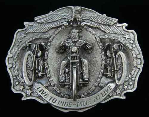 LIVE TO RIDE RIDE TO LIVE BIKER BELT BUCKLE BUCKLES NEW