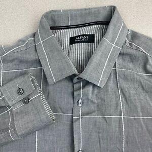 Alfani-Button-Up-Shirt-Mens-Large-Gray-Long-Sleeve-Regular-Fit-Windowpane-Check
