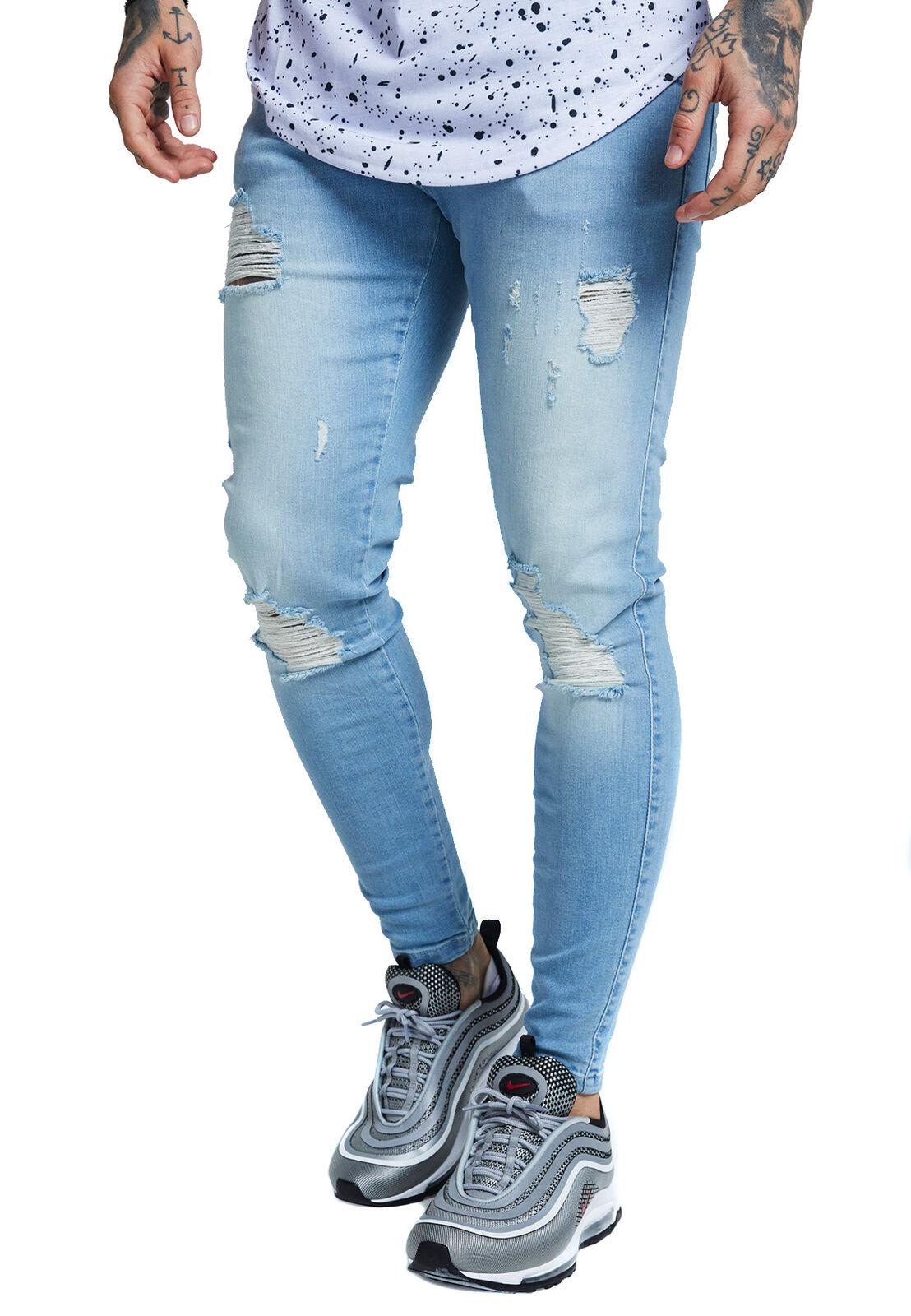 Siksilk Men's Jeans Skinny Distressed Denim Ss-12994 Light bluee Light bluee