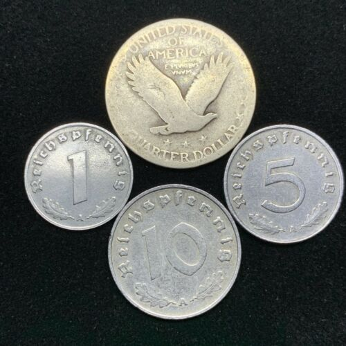 Nazi Coin Lot 3 WW2 Germany Zinc Coins and 1 Silver Standing Liberty Quarter