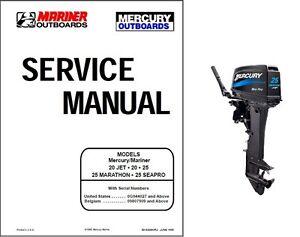 mercury mariner 20 jet 20 25 marathon seapro outboard motor service rh ebay com Outboard Boat Motors Mariner 15 HP Outboard