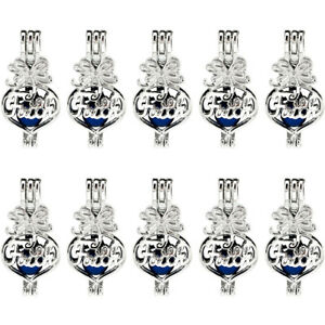 Silver Color Beads Cage Charm Heart With Rhinestone Locket Pendant 5X-K952