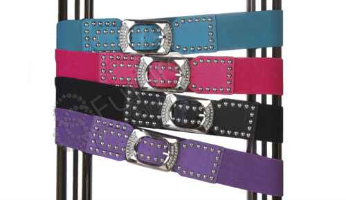 Clearance Elastic Belt with studs Buckle incl zircons Waistband Mix Colour FP20