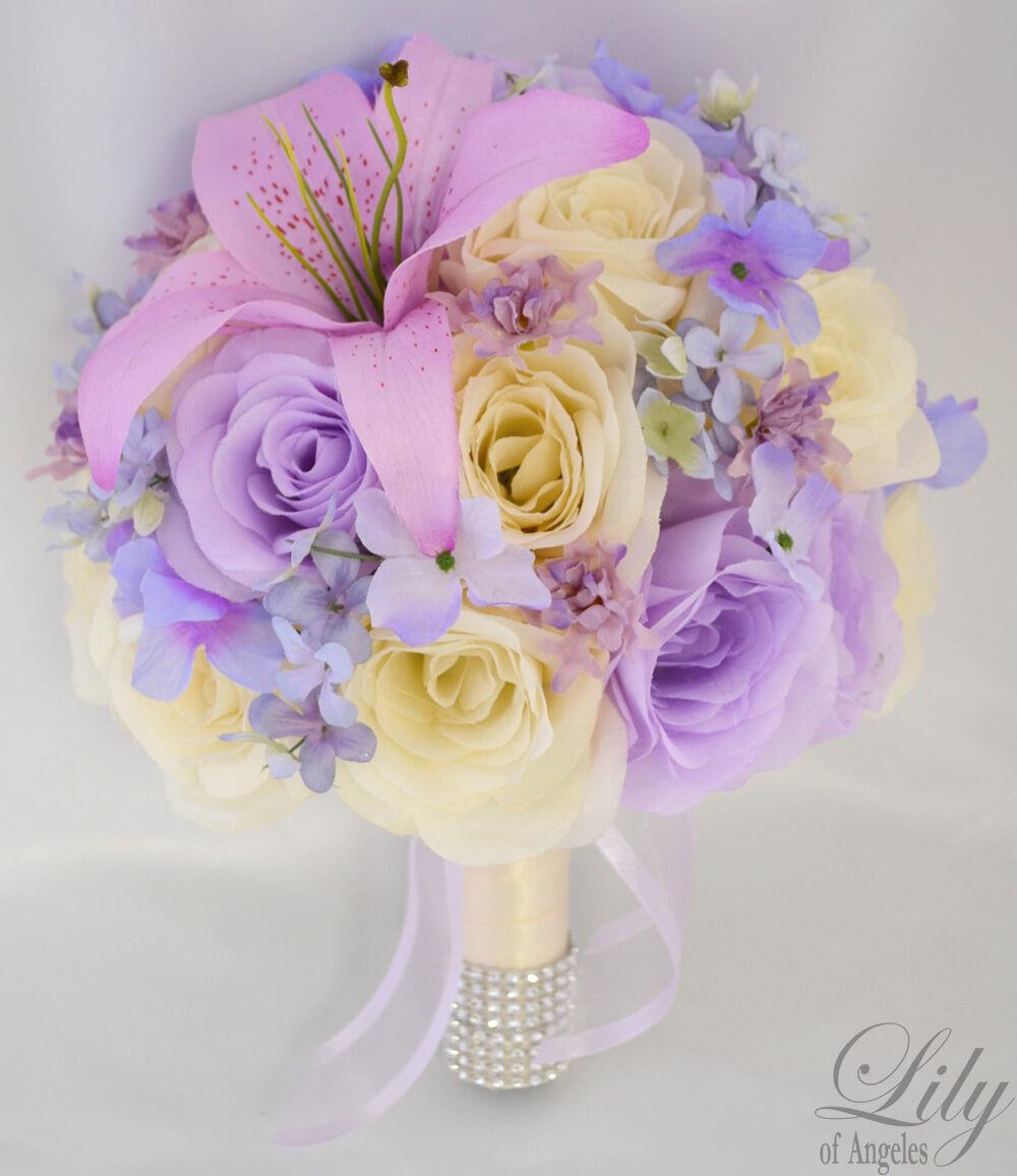 17pcs Robe de Mariage Bouquet Soie Décoration Fleur Paquet Ivoire Lavande