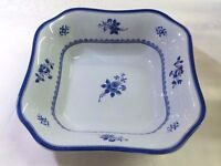 SPODE GLOUCESTER BLUE WHITE SQUARE SALAD VEGETABLE BOWL ENGLAND