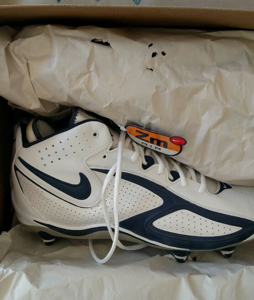 Nike Mens Air Zoom Blade 2 D Football Cleats  White Navy bluee 308359-141 NEW  95