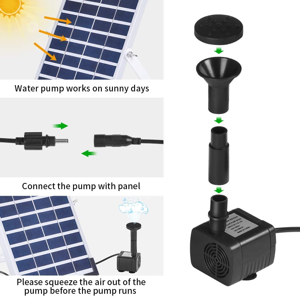 Ankway Solar Fountain Pump with Built-in Battery, 5W Solar Water Pump Floating