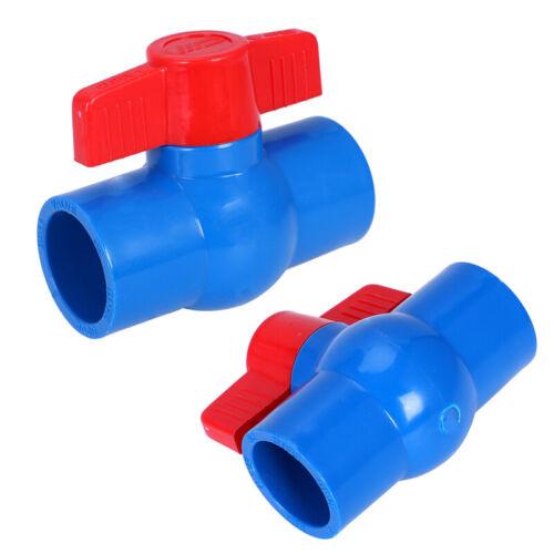 40mm x 40mm Slip Full Port Red Handle Lever U-PVC Ball Valve Blue C9O7 2X