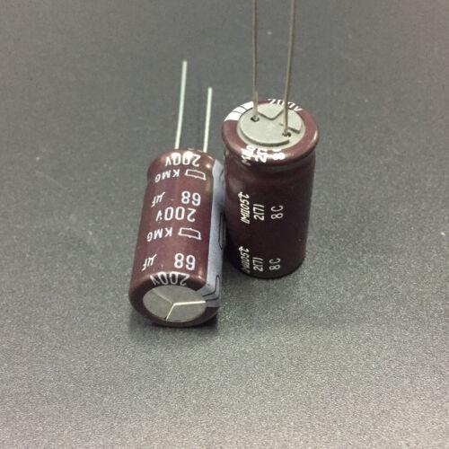 10pcs 68uF 200V68uf  NCC Nippon KMG 12.5x25mm Aluminum Electrolytic Capacitor