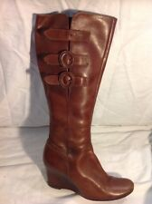 Bertie Brown Knee High Leather Boots Size 5
