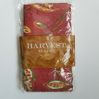 New Harvest Season Embroidered Fabric Napkins Fall Leaves Thanksgiving Set Of 4