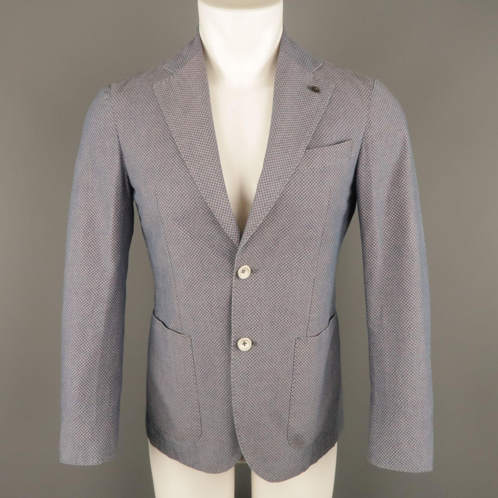 L.B.M. 1911 34 Short bluee & Burgundy Polka Dot Cotton Notch Lapel Sport Coat