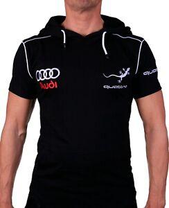 T-shirt-a-capuche-Audi-Quattro-RS-avec-poches-Sweat-brode-Homme-Coton-Noir-Auto