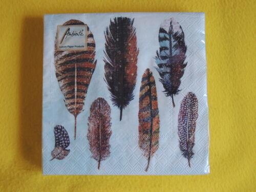 Plumas de colores 1 paquete de servilletas de aves 20 servilletas motivo servilleta muchas plumas