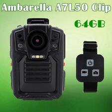 1296P Body Personal Security &Police Camera IR Night Vision 64GB+Remote Control